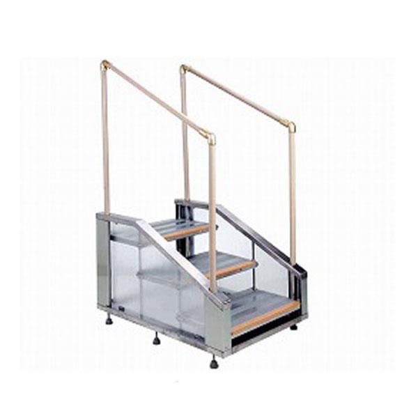 (代引き不可) 屋内外用手すり付ステップ 3段 ST3 愛岐産業 (玄関 掃出 勝手口 段差) 介護用品
