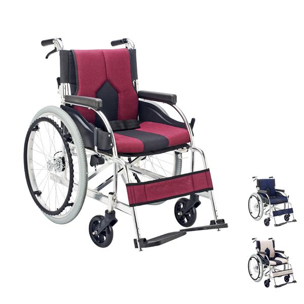 (4/1日限定 当店全品ポイント5倍!!)(代引き不可)アルミ自走用車いす カラーズ KC-1 LG PU DB マキライフテック 時間帯指定不可(車椅子 送料無料 クッション 折り畳み)介護用品