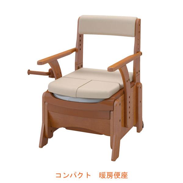 (キャッシュレス還元 5%対象)アロン化成 安寿 家具調トイレ セレクトR コンパクト 533-882 暖房便座 (ポータブルトイレ 肘付き椅子 暖房便座 天然木 キャスター付き) 介護用品