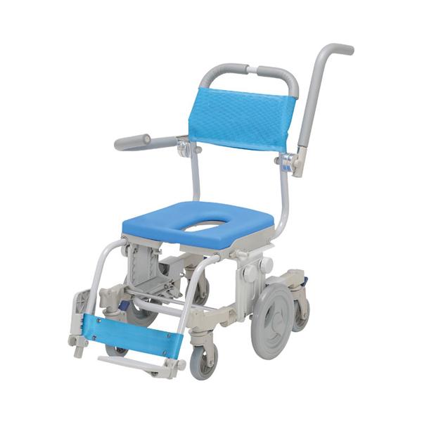 (代引き不可) シャトレチェア6輪セーフティ O型シート SW-6080-SA ウチヱ (お風呂 椅子 浴用 シャワーキャリー 背付き 介護 椅子) 介護用品