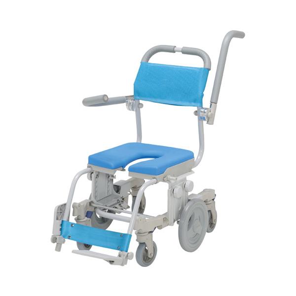 (代引き不可) シャトレチェア6輪セーフティ U型シート SW-6082-SA ウチヱ (お風呂 椅子 浴用 シャワーキャリー 背付き 介護 椅子) 介護用品