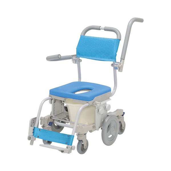 (代引き不可) シャトレチェア6輪セーフティ O型バケツ付 SW-6083-SA ウチヱ (お風呂 椅子 浴用 シャワーキャリー 背付き 介護 椅子) 介護用品