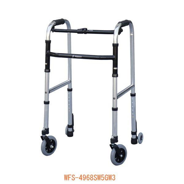 (代引き不可) スリムフレームウォーカー・キャスターモデル WFS-4968SW5GW3 シンエンス (歩行器 歩行補助 折りたたみ) 介護用品