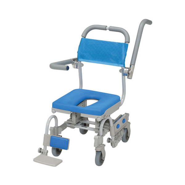 (代引き不可) シャワーラク4輪自在Vセーフティ O型シート SWR150SA ウチヱ (お風呂 椅子 浴用 シャワーキャリー 背付き 介護) 介護用品