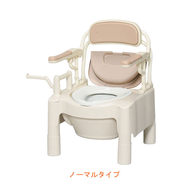 """安寿 ポータブルトイレ FX-CPはねあげ """"はねあげちびくまくん"""" ノーマルタイプ 534-500 アロン化成 (ポータブルトイレ 肘付き椅子 プラスチック 椅子) 介護用品"""