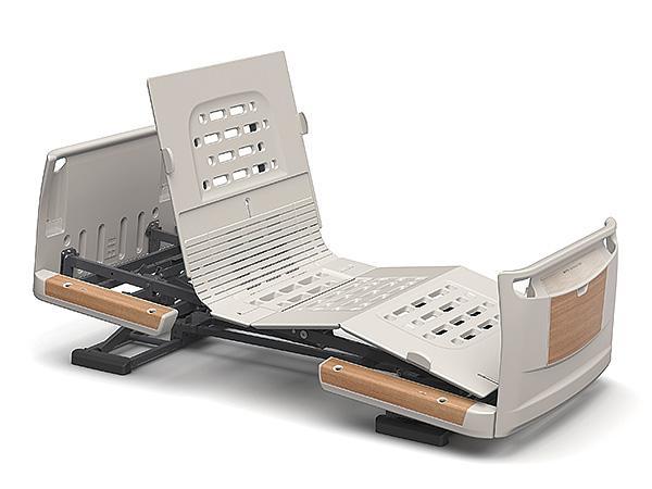(代引き不可)楽匠Z 2モーション 樹脂ボード 木目調 スマートハンドル付 / KQ-7201S 83cm幅 ミニ パラマウントベッド介護用品