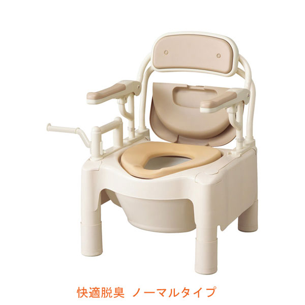 """安寿 ポータブルトイレ FX-CPはねあげ """"はねあげちびくまくん"""" 快適脱臭 ノーマルタイプ 534-530 アロン化成 (ポータブルトイレ 肘付き椅子 便座クッション 消臭 トイレ 脱臭機) 介護用品"""