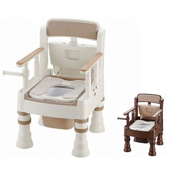 ポータブルトイレ きらく Mシリーズ ミニでか MY型 やわらか便座 リッチェル (ポータブルトイレ 介護 トイレ 肘付き椅子 便座クッション) 介護用品