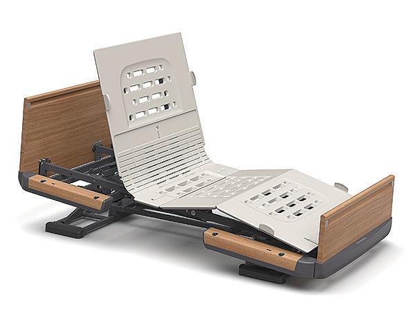 (代引き不可)楽匠Z 2モーション 木製ボード 脚側 低 スマートハンドル付 / KQ-7222S 91cm幅 ミニ パラマウントベッド介護用品