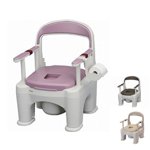 パナソニック 樹脂製ポータブルトイレ 座楽ラフィーネ プラスチック便座タイプ PN-L30200 (ポータブルトイレ 肘付き椅子 プラスチック 椅子 キャスター付き) 介護用品