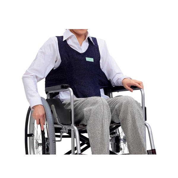 座位姿勢の保持と看護の省力化に 車いす用ワンタッチベルト キーパーEX デニム 403655-381 ネイビー 姿勢保持 フットマーク ベルト 介護用品 オンライン限定商品 車椅子 車イス用ベルト 評判