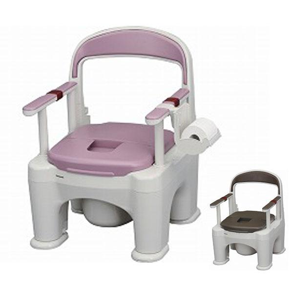 パナソニック 樹脂製ポータブルトイレ 座楽ラフィーネ 長穴プラスチック便座タイプ (前傾後傾脚ゴム付き) PN-L30206 (ポータブルトイレ 肘付き椅子 プラスチック 椅子 キャスター付き) 介護用品