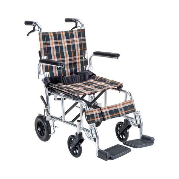 (代引き不可) コンパクト車いす PIRO N(ピロエヌ) PR-501 茶チェック マキライフテック (介助用 車椅子 折り畳み コンパクト) 介護用品