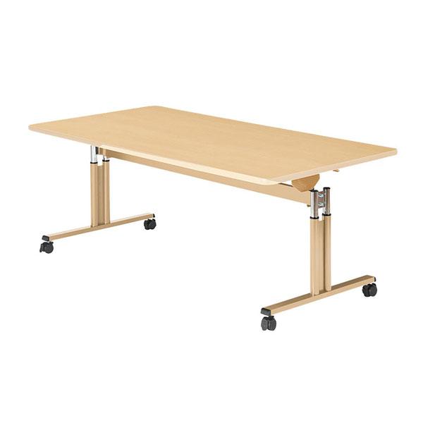 (代引き不可) 昇降フラップテーブル UFT-TT1890-M メープル 幅180cm 介援隊 (キャスター付 高さ調節 施設) 介護用品