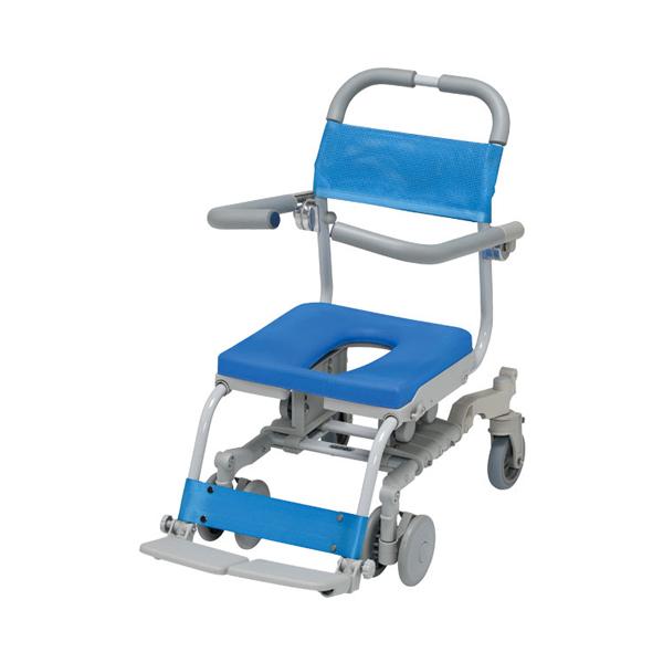 (代引き不可) シャワーラク4輪自在セーフティ O型シート SWR-130-SA ウチヱ (お風呂 椅子 浴用 コンパクト シャワーキャリー) 介護用品