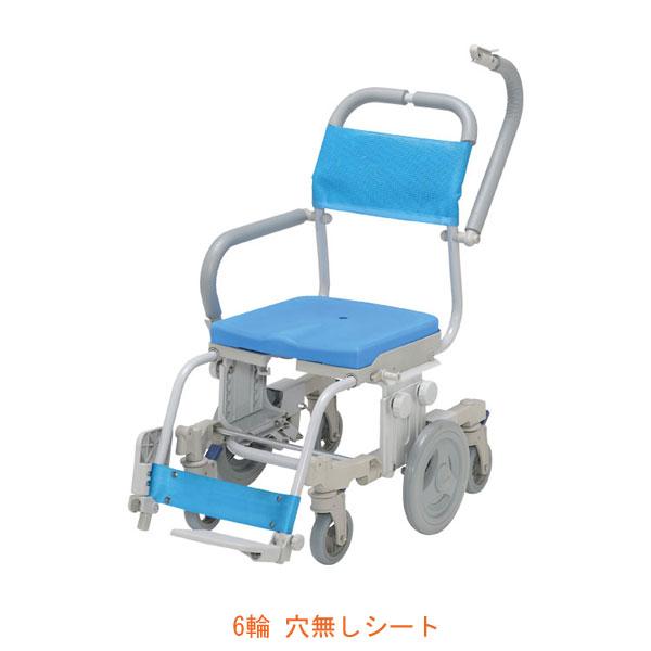 (代引き不可) シャトレチェア6輪 穴無しシート SW-6081 ウチヱ (お風呂 椅子 浴用 シャワーキャリー 背付き 介護 椅子) 介護用品