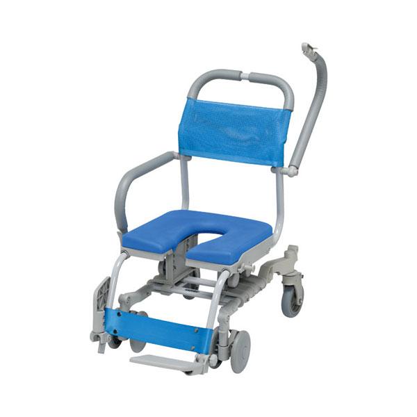 (代引き不可)シャワーラク 4輪自在 U型シート SWR-132 ウチヱ(お風呂 椅子 浴用 シャワーキャリー 背付き 介護 椅子) 介護用品