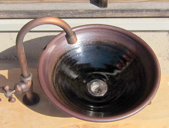 陶芸手洗い鉢 黒天目(中)洗面台/洗面ボール美濃焼伝統工芸士が創作