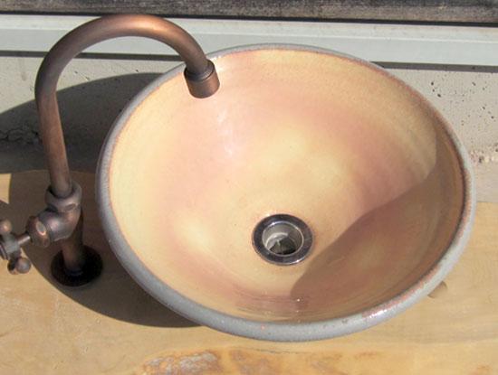 陶芸手洗い鉢 粉引 (中)洗面台/洗面ボール美濃焼伝統工芸士が創作