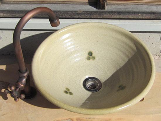 陶芸手洗い鉢 黄瀬戸点紋 (中)洗面台/洗面ボール美濃焼伝統工芸士が創作