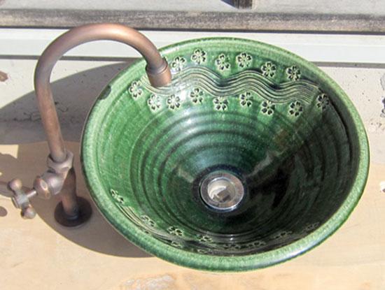 陶芸手洗い鉢 (織部 彫刻) (中)洗面台/洗面ボール 創作 陶芸美濃焼伝統工芸士