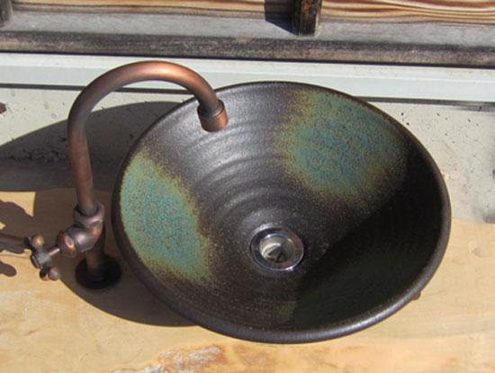 陶芸手洗い鉢 灰釉 (中)洗面台/洗面ボール美濃焼伝統工芸士が創作