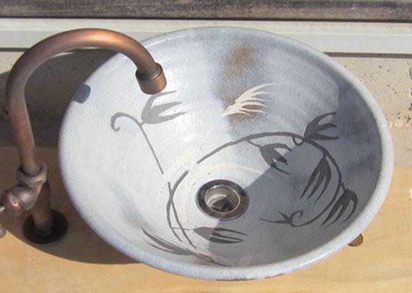手洗い鉢 ねずみ志野草紋 (中)洗面台/洗面ボール創作 陶芸美濃焼伝統工芸士