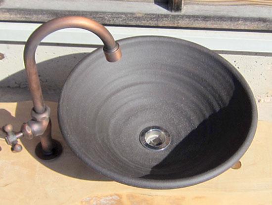 陶芸手洗い鉢 炭化黒焼締(中)洗面台/洗面ボール美濃焼伝統工芸士が創作