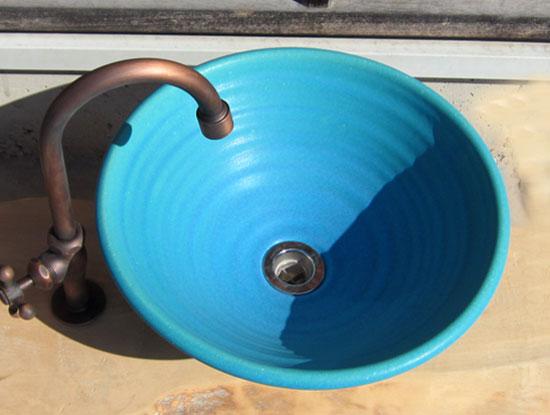 陶芸手洗い鉢 トルコブルー(中)洗面台/洗面ボール美濃焼伝統工芸士が創作