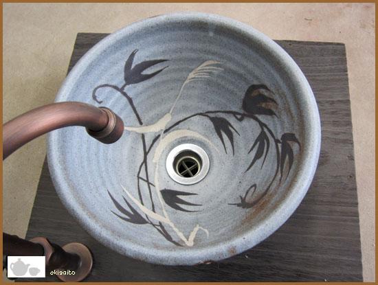 陶芸手洗い鉢 ねずみ志野草紋 (小)洗面台/洗面ボール美濃焼伝統工芸士が創作