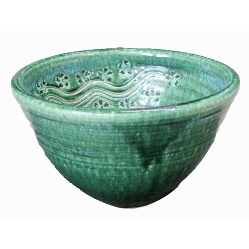 陶芸手洗い鉢 織部 彫刻 小洗面台洗面ボール創作 美濃焼伝統工芸士