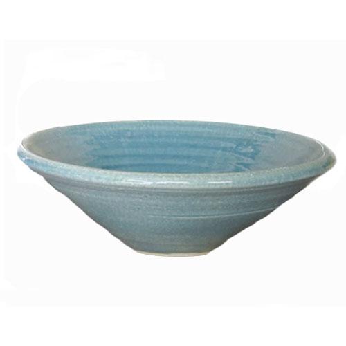 陶芸手洗い鉢  ブルーガラス(中) 洗面台/洗面ボール創作 陶芸美濃焼伝統工芸士