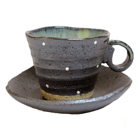 美濃焼 土の手触りにホッ じっくりコーヒーを味わう方に コーヒーカップ 今季も再入荷 ソーサー 碗皿日本製 錆色に水玉 特価 食器 プレゼントにも最適