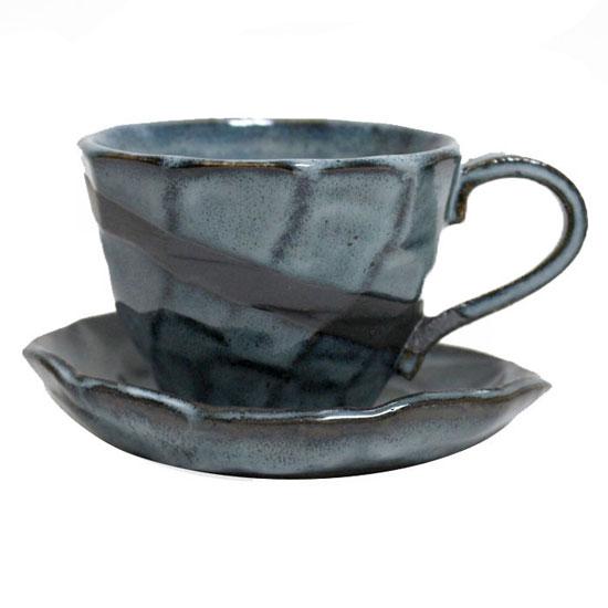 【美濃焼】温もりを感じさせる土物のコーヒー碗皿♪ コーヒーカップソーサー 黒均窯 コーヒー碗皿 プレゼントにも最適!!