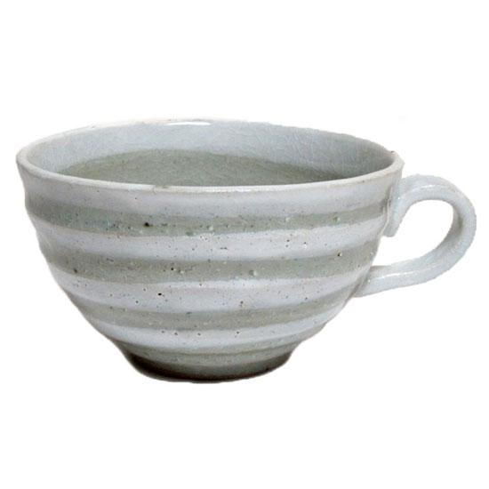 美濃焼 お味噌汁 茶碗蒸しの容器にも持ちやすくて便利 スープカップ 白いボーダー国産 食洗機 レンジ 和食器 プレゼント 持ち手 味噌汁 お椀 おしゃれ SALE 新作通販 和モダン