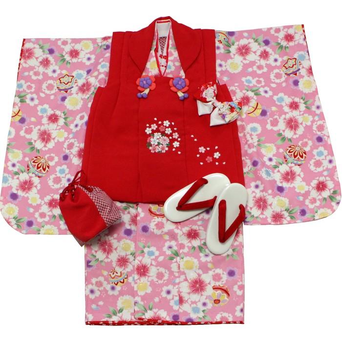 日本製プレミアム 七五三 三歳被布セット(ピンク/赤)【送料無料】送料込|女の子|3歳|祝着|初節句|ひな祭り|記念日|セレモニー|こども|ベビー|えくぼちゃん|srh
