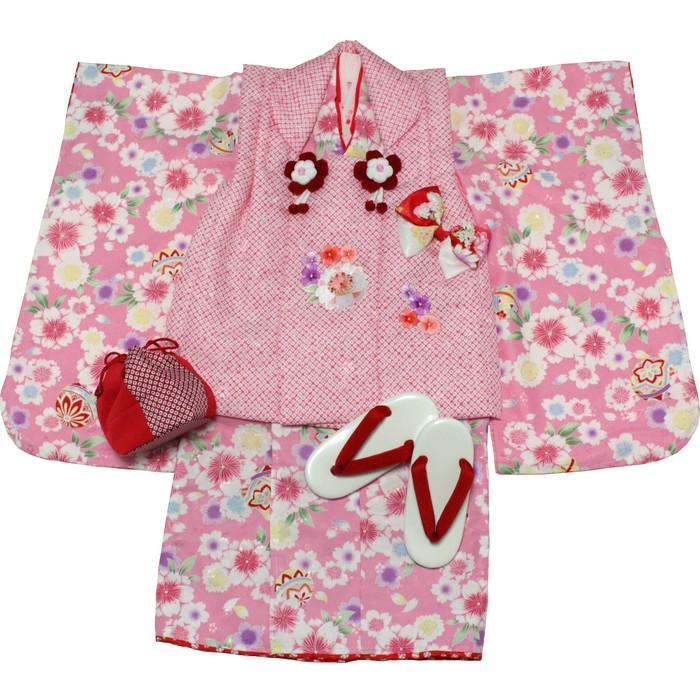 日本製プレミアム 七五三 三歳被布セット(ピンク/ピンク疋田)【送料無料】送料込|女の子|3歳|祝着|初節句|ひな祭り|記念日|セレモニー|こども|ベビー|えくぼちゃん|srh