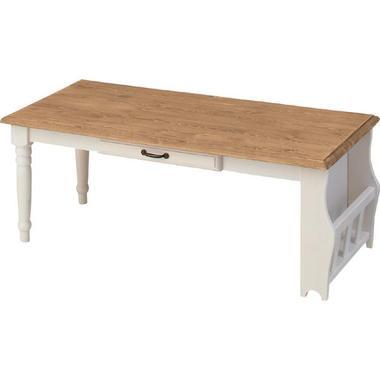 CFS-214 センターテーブル ナチュラル カントリー ホワイトウッド 木製 天板 引き出し カフェテーブル【メーカー直送・代金引換不可】