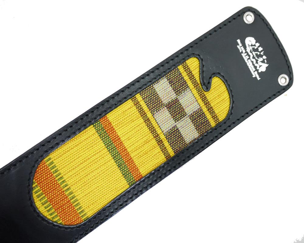 【限定1枚】三線用 胴巻き レザー黒 ミンサー黄色