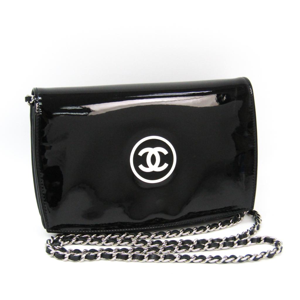 シャネル(Chanel) メイクアップライン レディース パテントレザー チェーン/ショルダーウォレット ブラック 【中古】