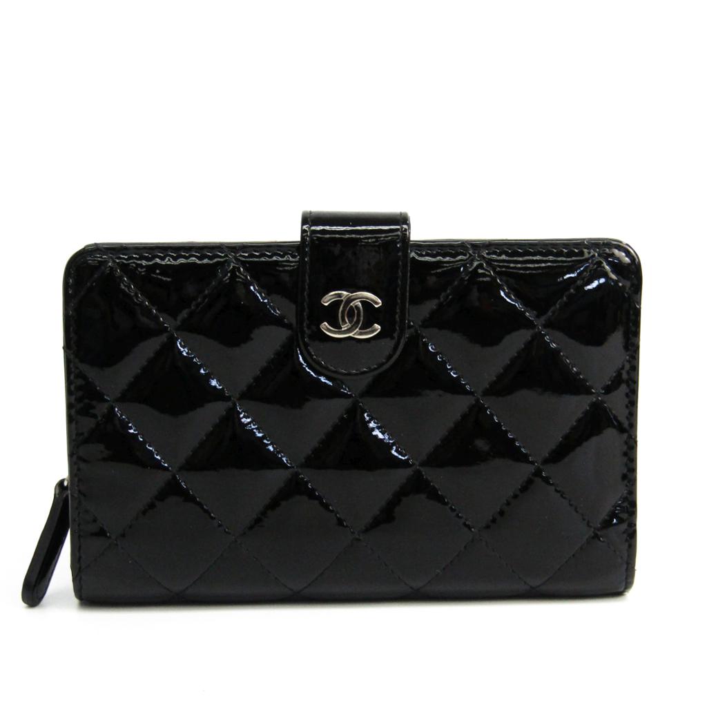 d4649945f032 シャネル(Chanel) マトラッセ A48667 レディース エナメルレザー 中財布(二つ折り) ブラック