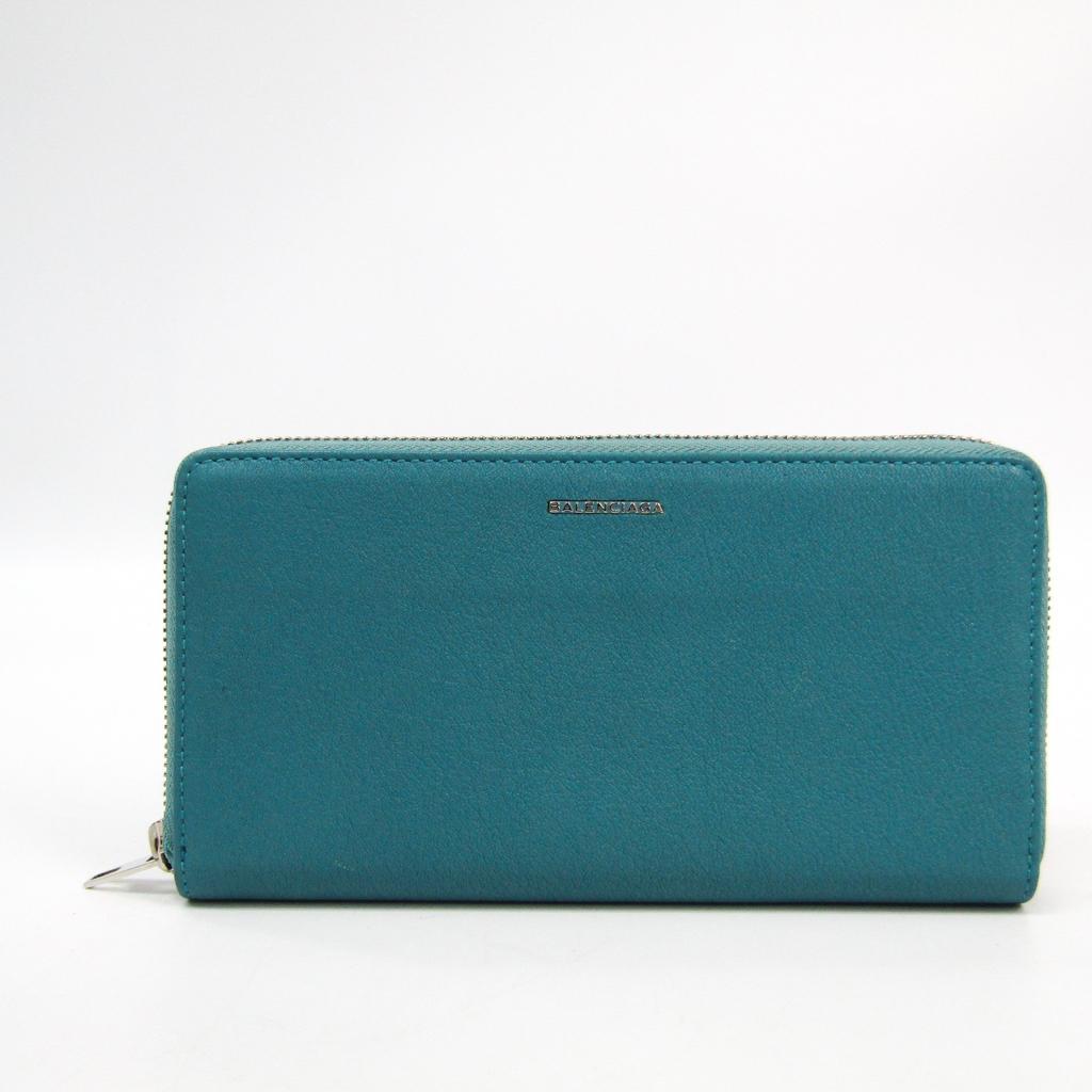 バレンシアガ(Balenciaga) 392124 レディース レザー 長財布(二つ折り) ブルー 【中古】