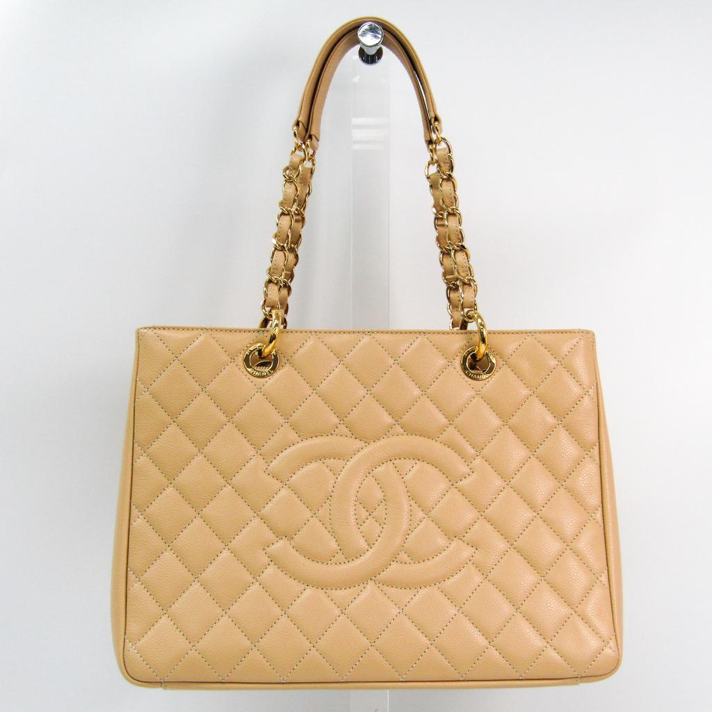 シャネル(Chanel) キャビア・スキン グランド・ショッピング トート GST A50995 レディース レザー ショルダーバッグ ベージュ 【中古】