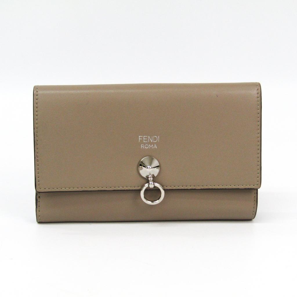 フェンディ(Fendi) 8M0383 レディース カーフスキン 中財布(二つ折り) グレーベージュ 【中古】