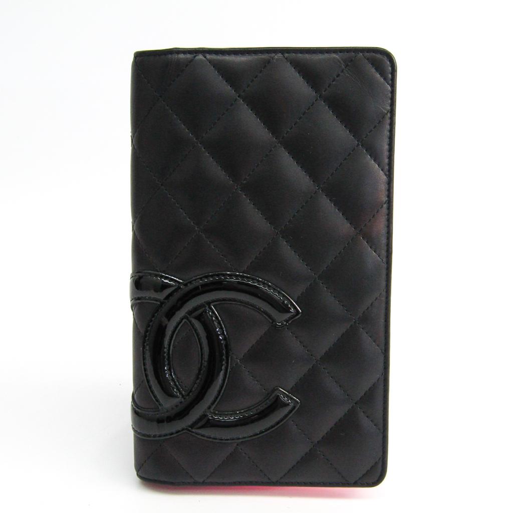 シャネル(Chanel) カンボン A26717 カーフスキン 長財布(二つ折り) ブラック 【中古】