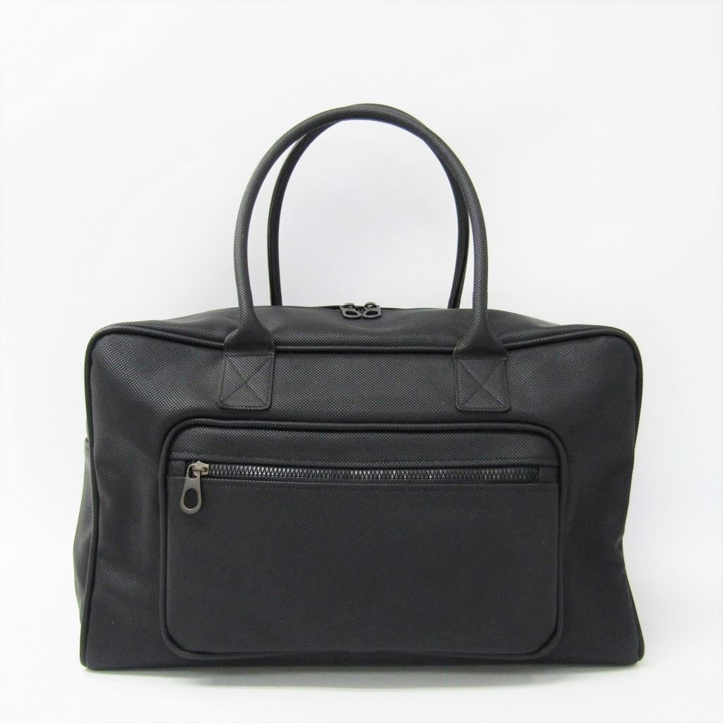 ボッテガ・ヴェネタ(Bottega Veneta) マルコポーロ 130973 メンズ PVC ボストンバッグ ブラック 【中古】