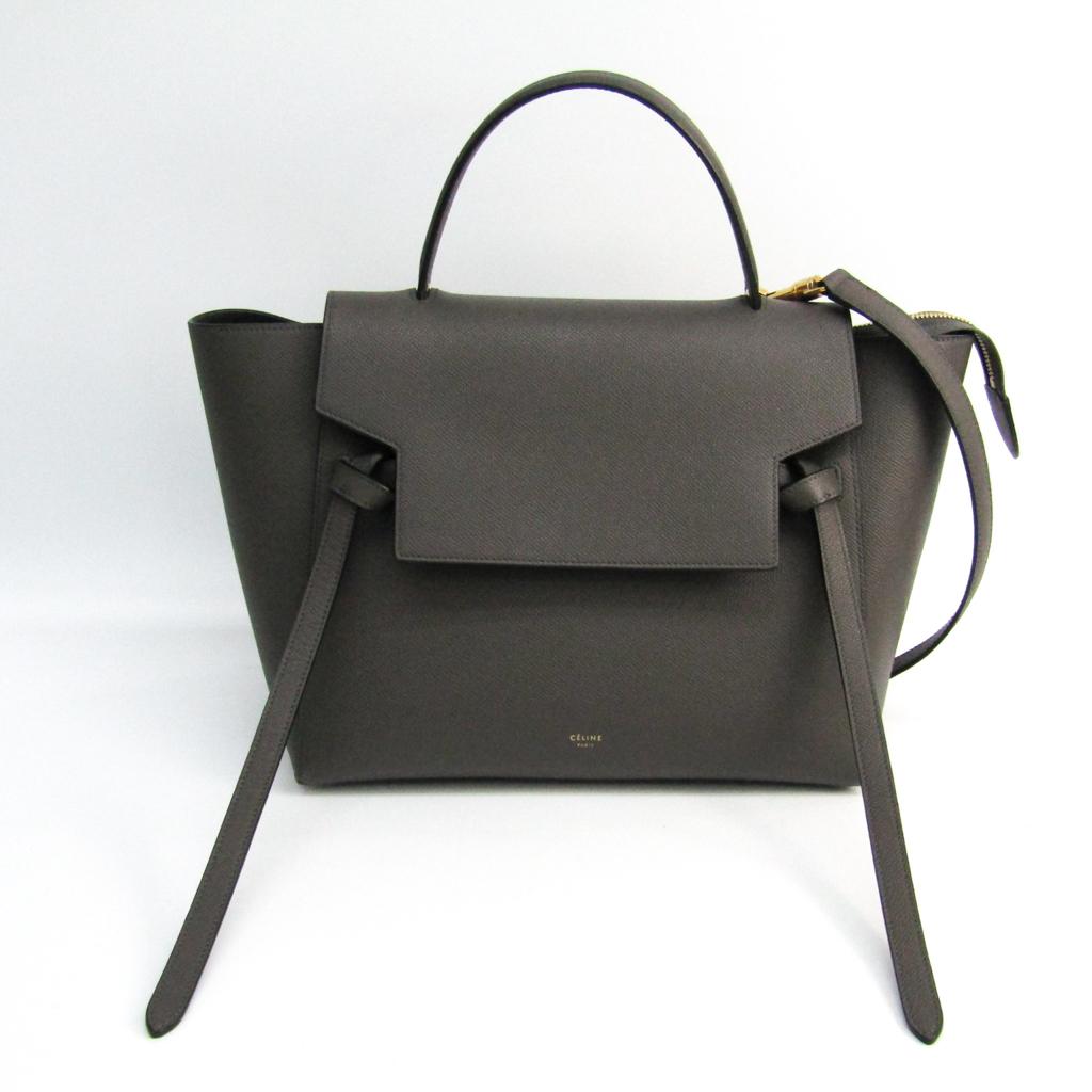 Celine Belt Bag Mini 176103 Lady S Leather Handbag Gray