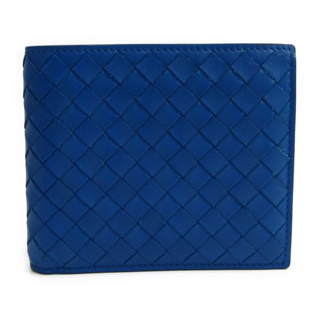 ボッテガ・ヴェネタ(Bottega Veneta) イントレチャート 193642 メンズ カーフスキン 財布(二つ折り) ブルー 【中古】