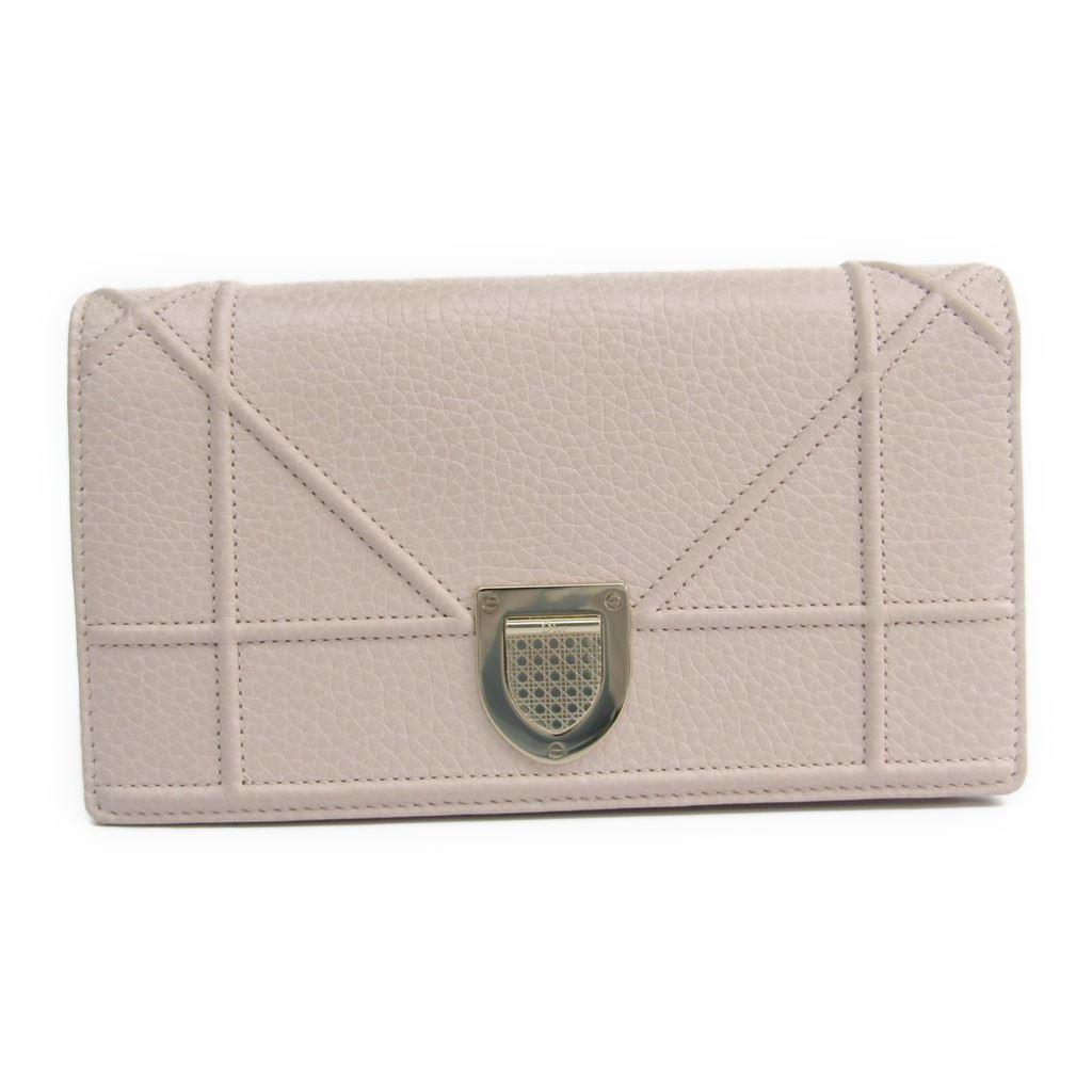 クリスチャン・ディオール(Christian Dior) ディオラマ レディース レザー 長財布(二つ折り) ライトピンク 【中古】