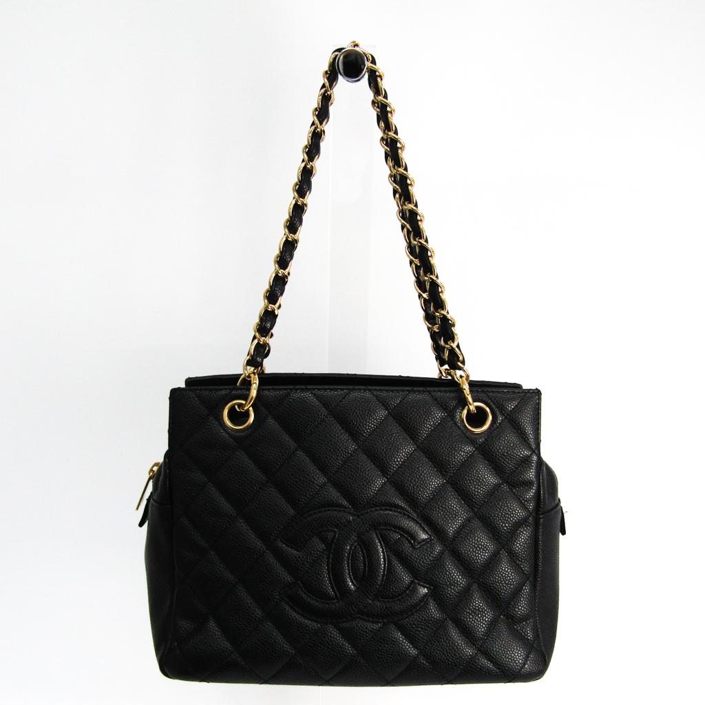 シャネル(Chanel) プチ・タイムレス・トート PTT A18004 キャビアスキン ハンドバッグ ブラック 【中古】